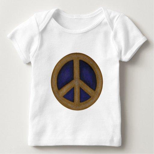 signo de la paz del azul del oro playera de bebé