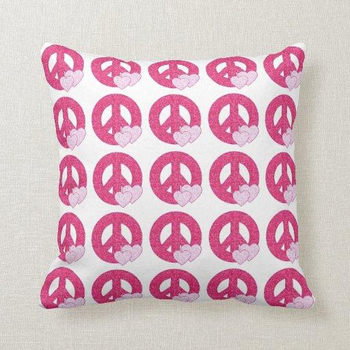 Signo de la paz del brillo almohadas
