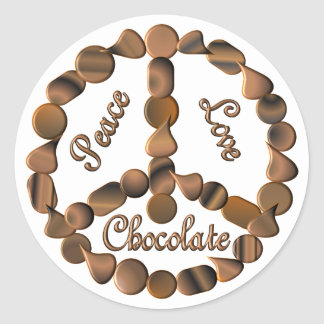 Signo de la paz del chocolate etiqueta redonda
