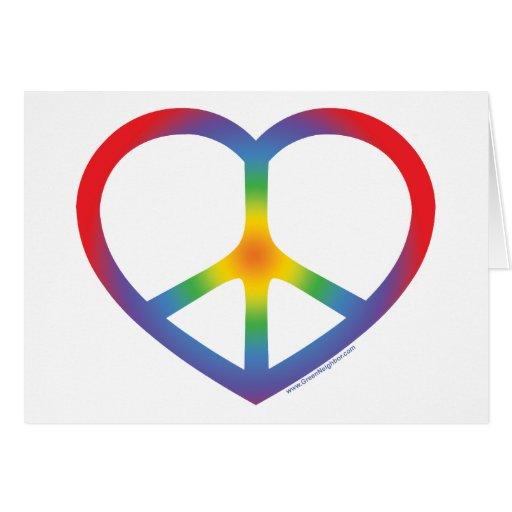 Signo de la paz del corazón del arco iris tarjeta de felicitación
