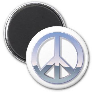 Signo de la paz del cromo imán redondo 5 cm