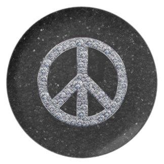 Signo de la paz del diamante platos