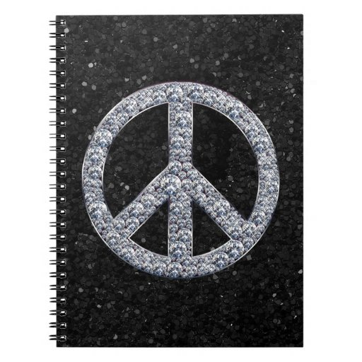 Signo de la paz del diamante spiral notebooks