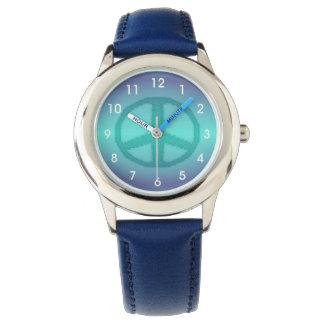 Signo de la paz del efecto del teñido anudado relojes de mano