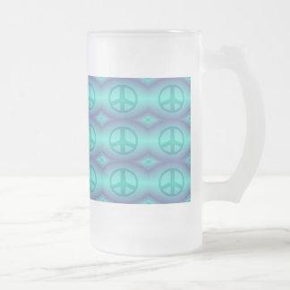 Signo de la paz del efecto del teñido anudado taza de cristal