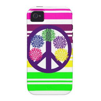 Signo de la paz del flower power del Hippie en ray Case-Mate iPhone 4 Carcasa