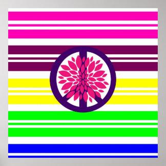 Signo de la paz del flower power del Hippie en ray Posters