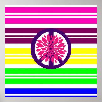 Signo de la paz del flower power del Hippie en ray Impresiones