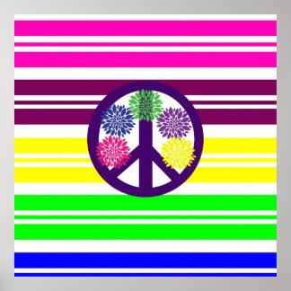 Signo de la paz del flower power del Hippie en ray Poster