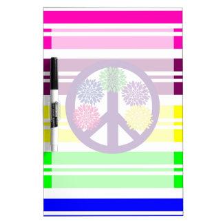 Signo de la paz del flower power del Hippie en ray Pizarras Blancas De Calidad