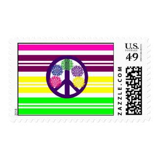 Signo de la paz del flower power del Hippie en Sello