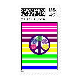 Signo de la paz del flower power del Hippie en Sellos