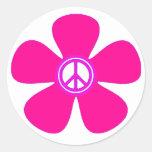 Signo de la paz del flower power etiqueta redonda