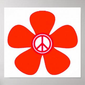 Signo de la paz del flower power impresiones