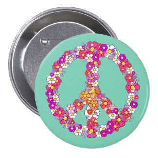 Signo de la paz del flower power pin redondo de 3 pulgadas