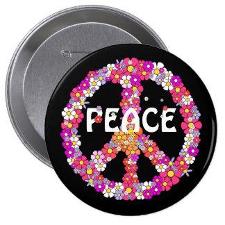 Signo de la paz del flower power pin redondo de 4 pulgadas