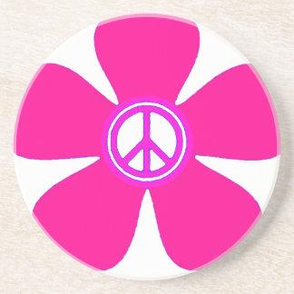 Signo de la paz del flower power posavaso para bebida