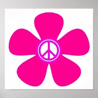 Signo de la paz del flower power poster