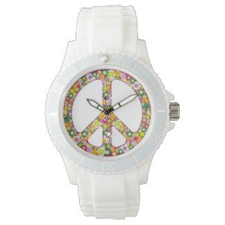 Signo de la paz del flower power relojes de pulsera