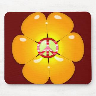 Signo de la paz del flower power tapetes de raton