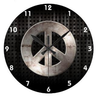 Signo de la paz del Grunge Reloj Redondo Grande