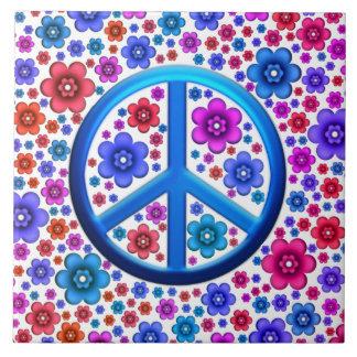 Signo de la paz del Hippie Azulejo Cuadrado Grande