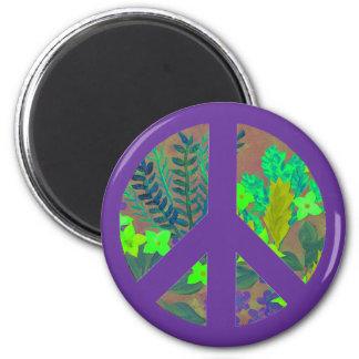 Signo de la paz del Hippie. Color de encargo él Imán Redondo 5 Cm