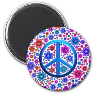 Signo de la paz del Hippie Imán Redondo 5 Cm