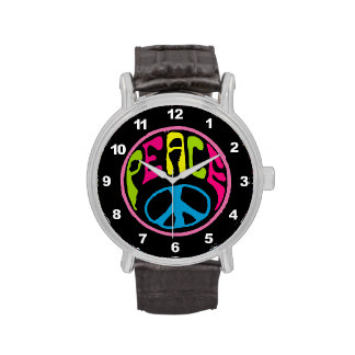 Signo de la paz del Hippie Reloj