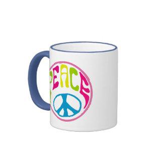 Signo de la paz del Hippie Taza De Dos Colores
