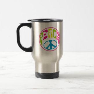Signo de la paz del Hippie Taza De Viaje