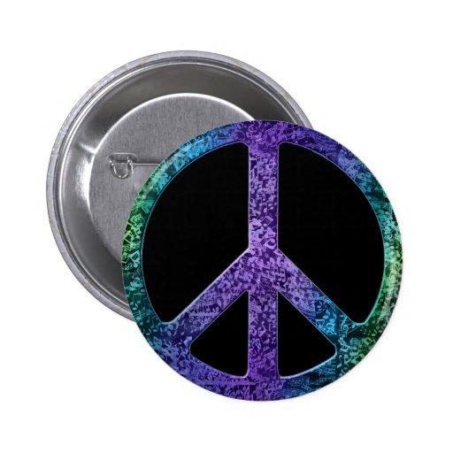 Signo de la paz del modelo de las notas musicales pin redondo de 2 pulgadas