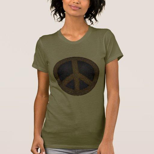 Signo de la paz del mosaico en oros y azules camisetas