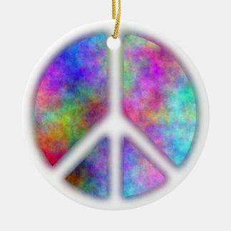 Signo de la paz del plasma ornamento para arbol de navidad