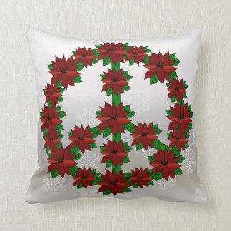 Signo de la paz del Poinsettia Almohadas