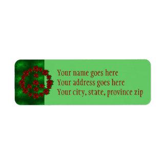 Signo de la paz del Poinsettia Etiqueta De Remitente