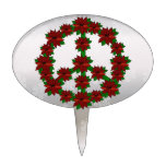 Signo de la paz del Poinsettia Figura De Tarta
