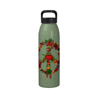 Signo de la paz del Veggie Botellas De Agua Reutilizables