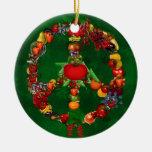 Signo de la paz del Veggie Ornamentos De Navidad
