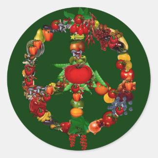 Signo de la paz del Veggie Etiquetas Redondas