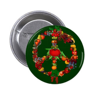Signo de la paz del Veggie Pin Redondo De 2 Pulgadas