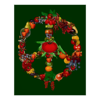 Signo de la paz del Veggie Póster