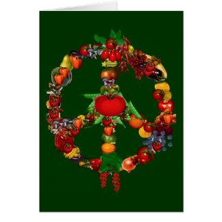 Signo de la paz del Veggie Tarjeta De Felicitación