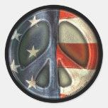 Signo de la paz del vintage pegatinas redondas