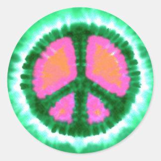 Signo de la paz eléctrico del teñido anudado pegatina redonda