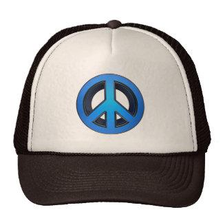 Signo de la paz en azul gorros bordados
