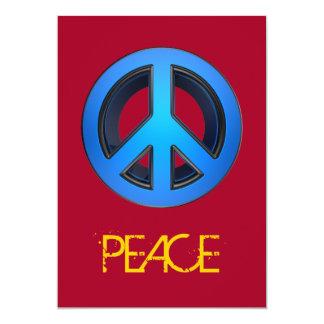 """Signo de la paz en azul invitación 5"""" x 7"""""""