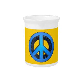 Signo de la paz en azul jarras de beber