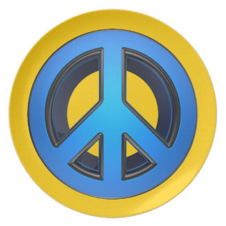 Signo de la paz en azul plato de cena