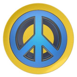 Signo de la paz en azul platos